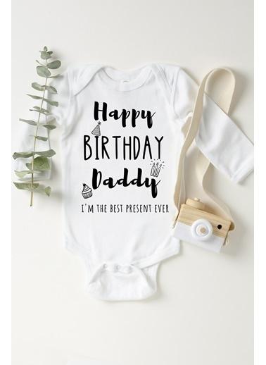 Happy Onesie Co Doğum Günün Kutlu Olsun Babacığım Çıtçıtlı Bebek Body Beyaz